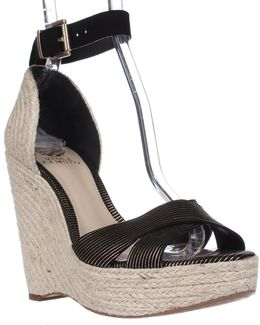 Maurita Ankle Strap Wedge Sandals - Black/gold/natural