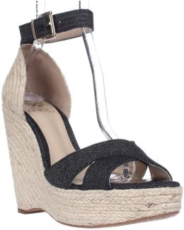 Maurita Ankle Strap Wedge Sandals - Dark Indigo/natural