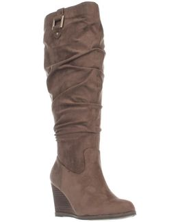 Dr. Scholls Poe Wide Calf Slouch Wedge Boots