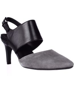 Exit Lane Slingback Dress Pumps - Dark Grey Combo