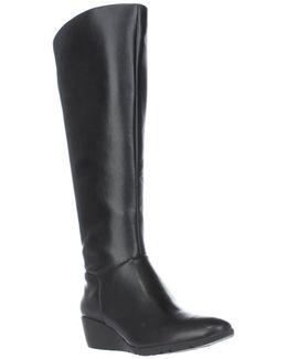Aliba Wedge Wide-calf Knee-high Boots - Black
