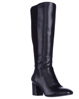 Dice Knee High Dress Boots - Black