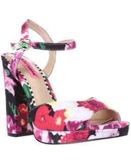 Isla Ankle Strap Dress Sandals - Black Floral