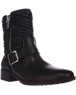 Rauline Quilted Motorcycle Boots - Black/silver