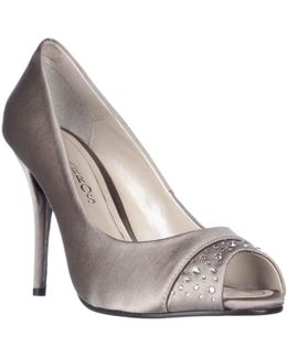 Odell Rhinestone Peep Toe Dress Pumps