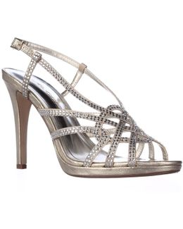 Vega Rhinestone Studded Slingback Dress Sandals
