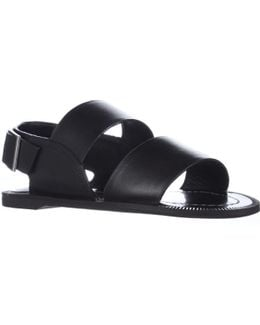 Arianna Flat Strapped Sandals - Black