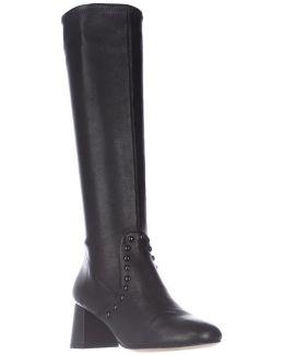 Britney Studded Knee High Fashion Boots - Black