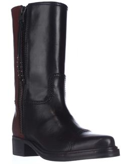 Short Western Mid-calf Two-tone Boots