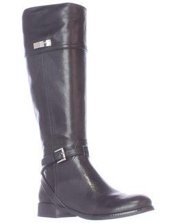 Micha Buckle Strap Riding Boots - Black