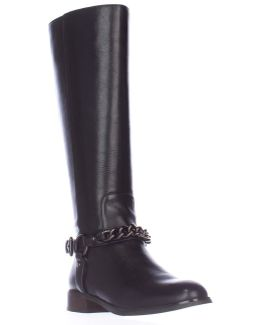 Mabel Chain Ankle Strap Riding Boots - Black