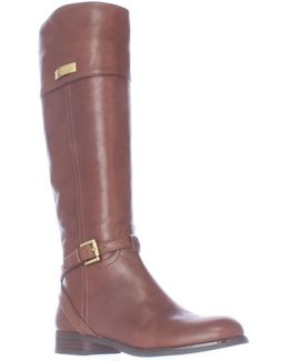 Micha Buckle Strap Riding Boots - Chestnut