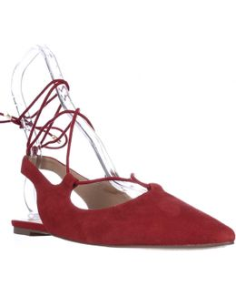 Snap Pointed Toe Ankle Tie Ballet Flats - Red