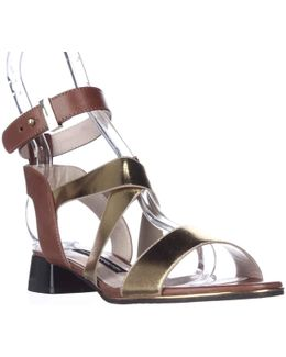 Corazon Ankle Strap Low Dress Sandals - Gold/tan