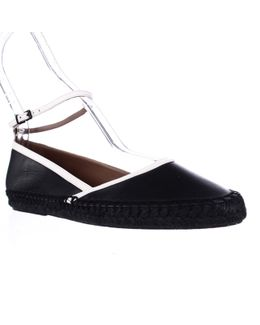 Xis010 Ankle Strap Espadrille Flats - Nero Blanco
