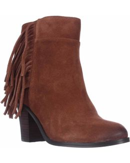 Alana Fringe Ankle Boots - Rust