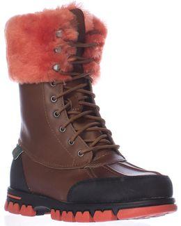 Lauren Ralph Lauren Quinta Shearling Lined Winter Boots - Tan/bright Orange
