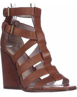 Cecile Strappy Wedge Sandals - Cigar