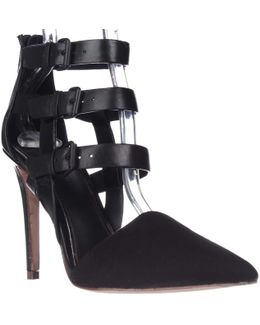 Elie Andover Buckle Straps Pointed Toe Heels - Black