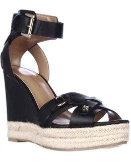 Velvet Espadrille Wedge Sandals - Black