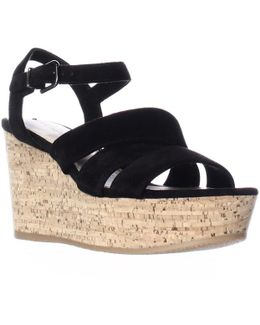 Kendall Platform Wedge Strappy Sandals - Black