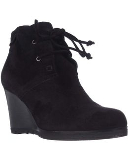 Mirren Wedge Lace-up Ankle Boots - Black Suede