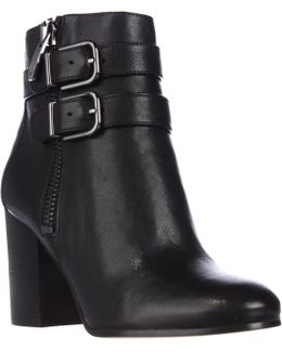 Briella Double Strap Buckle Ankle Boots - Black