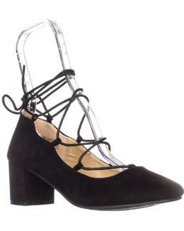 Shoes Abby Lace Up Ankle Tie Chunky Heel Pumps