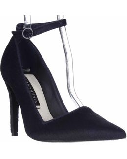 Alice And Olivia Makayla Pointed Toe Ankle Strap Heels - Navy
