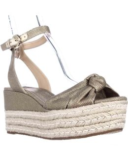 Michael Maxwell Mid Wedge Platform Ankle Strap Sandals - Gold
