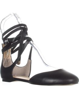 Elise Lace Up Ballet Flats, Black