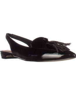 Paulina Slingback Tassel Pointed Toe Loafers - Black
