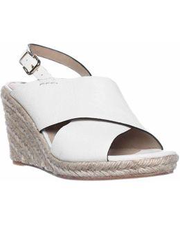 Rosette Esapdrille Slingback Sandals - White