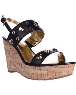 Gitty Platform Studded Wedge Sandals