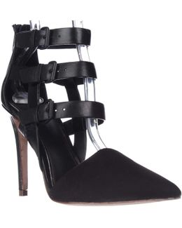 Elie Andover Buckle Straps Pointed Toe Heels