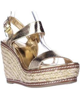Lauren Ralph Lauren Serana Wedge Espadrille Sandals - Gold