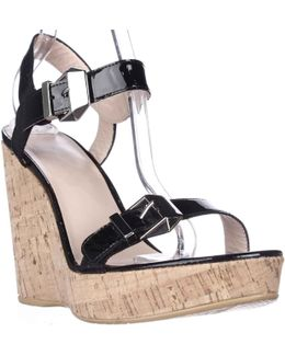 Twomuch Cork Wedge Sandals - Black Patent