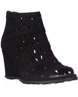 Latanya Wedge Sandals - Black Suede