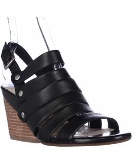 Lassie Strappy Wedge Sandals - Black