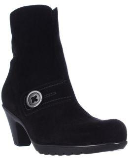 Dorthea Button Winter Ankle Boots - Black