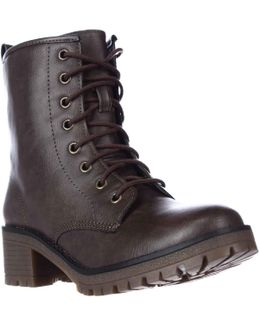 Eloisee Lace-up Combat Boots - Brown