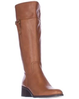 Lizbeth Wide-Calf Leather Knee-High Boots