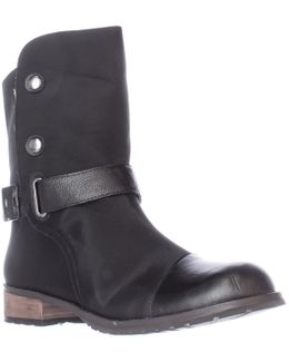 Tundra Shearling Lined Mid Calf Boots - Black/white
