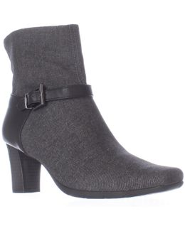 Harmonica Square Toe Ankle Strap Boots