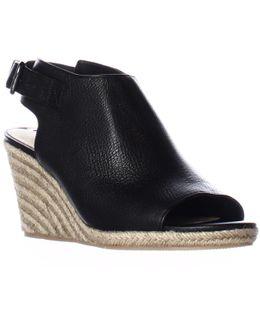 Ingrid Peep Toe Espadrille Wedge Ankle Strap Sandals - Black