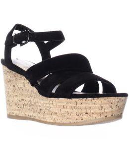 Kendall Platform Wedge Strappy Sandals - Black
