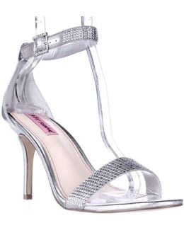 Brodway Sparkle Ankle Strap Dress Sandals - Silver Metal