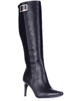 Jaidia Wide Calf Harness Knee High Dress Boots