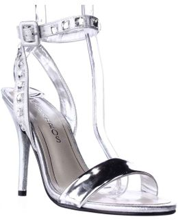 Cassidy Jeweled Ankle Strap Dres Sandals - Silver Metallic