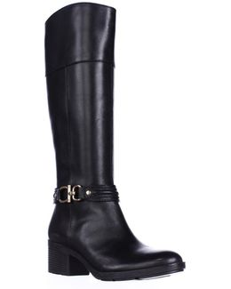 Ulla Ankle Strap Knee High Fashion Boots - Black